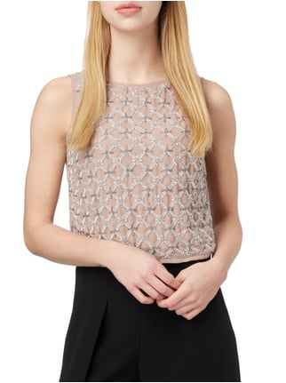 TRUE DECADENCE Crop-Top mit Zierperlenbesatz Lavendel - 1