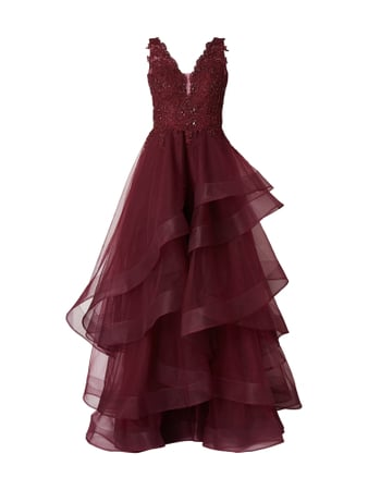 Unique Abendkleid aus Mesh im Stufen-Look Rot - 1