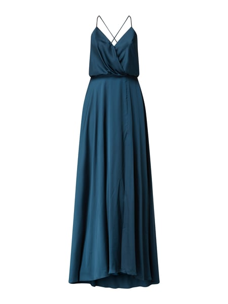 Unique Abendkleid aus Satin Türkis - 1