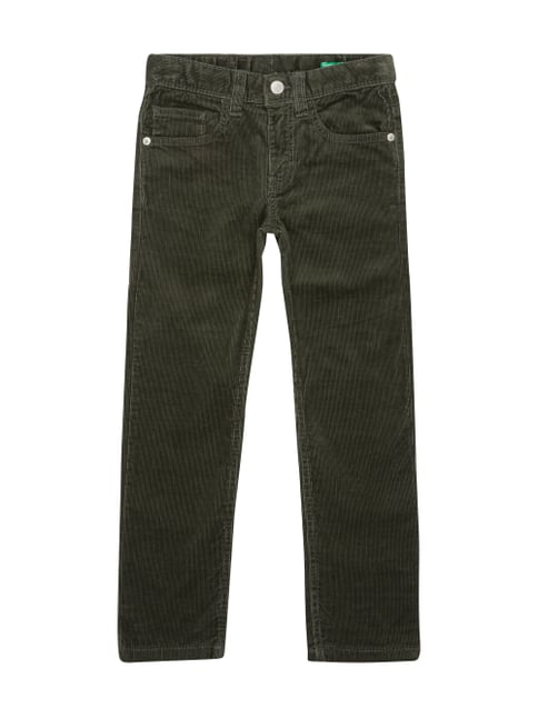 Skinny Fit 5-Pocket-Cordhose Grün - 1