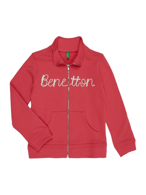 Sweatjacke mit Logo-Applikation Rosé - 1