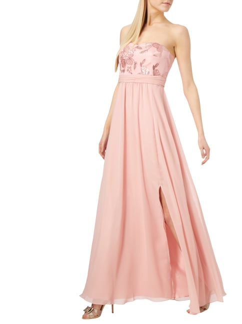 V.M. Abendkleid mit floralen Stickereien in Rosé - 1