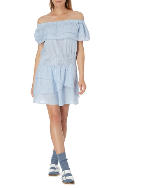 Vero Moda Off Shoulder Kleid mit Streifenmuster in Blau / Türkis - 1