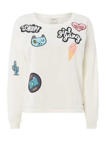 Sweatshirt mit Patches und Message-Prints Weiß - 1