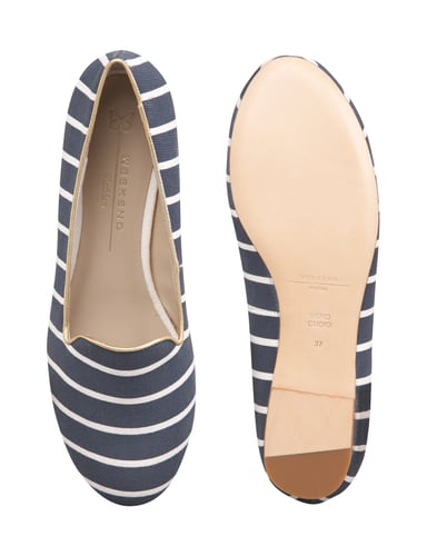 Weekend Max Mara Loafer mit All-Over-Muster Blau - 1