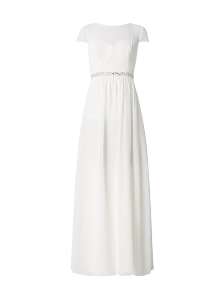 Young Couture Abendkleid aus Chiffon mit Cut Out Offwhite