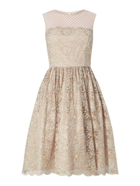 Young Couture Cocktailkleid aus floraler Spitze Taupe