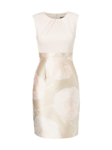 Young Couture Cocktailkleid mit floralem Jacquardmuster Beige