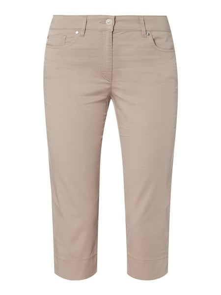 Slim Fit Caprihose mit Stretch-Anteil Braun - 1