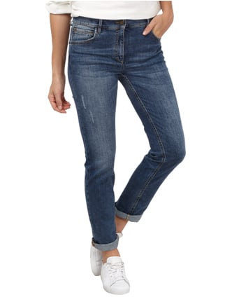 Zerres Stone Washed Jeans mit weiter Taille Jeans meliert - 1