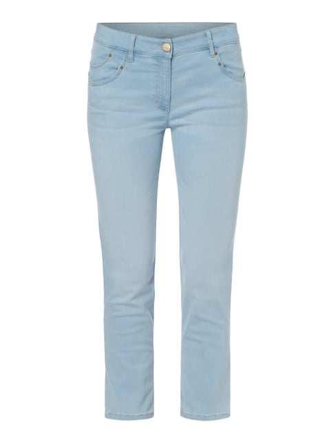 Stone Washed Slim Fit Cropped Jeans Blau / Türkis - 1